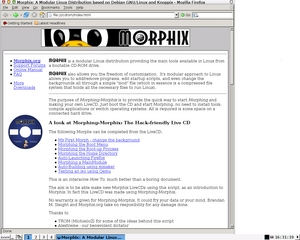 Screenshot distribuce Morphix
