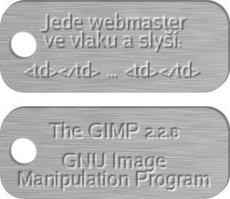 GIMP 15 Oba plíšky s vyraženým textem
