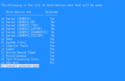 netbsd instalace distsets