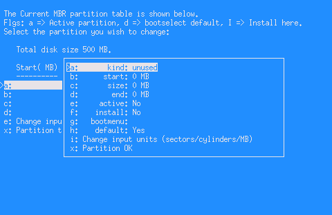 netbsd instalace partition-options