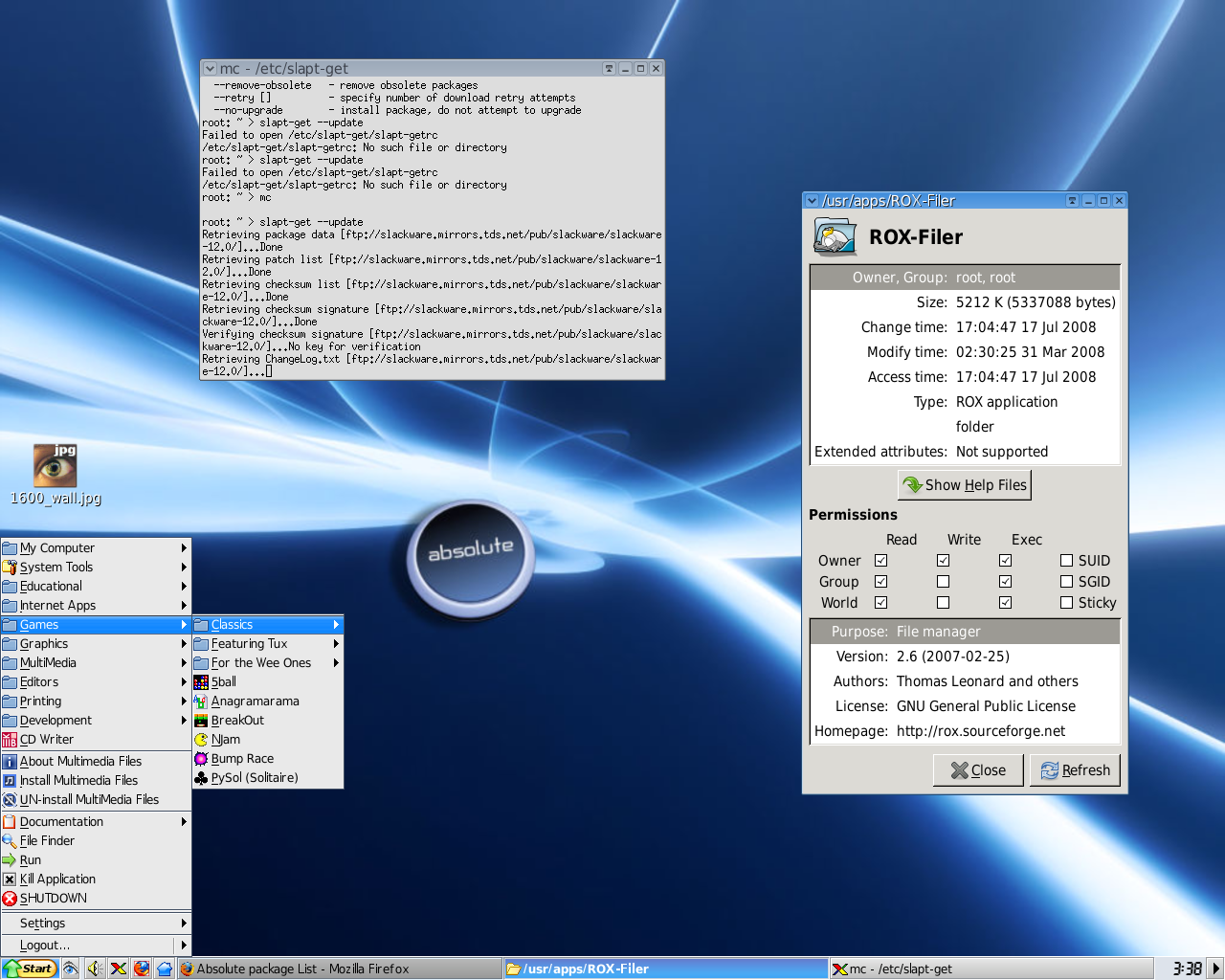 Absolute Linux with IceWM+ROX - desktop