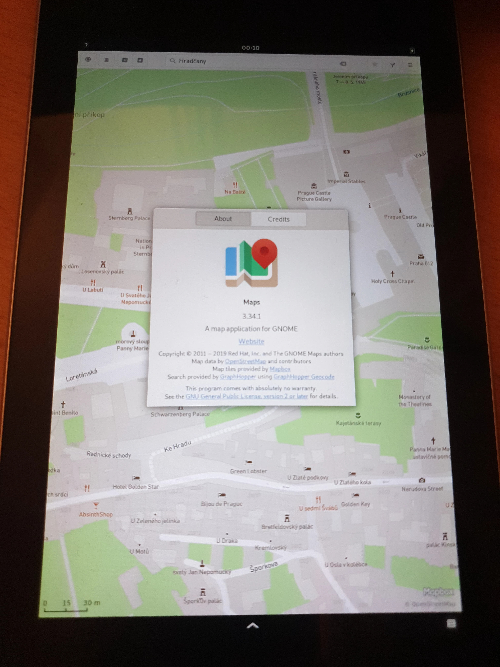 Phoc / Phosh (GNOME-maps) na Nexus 7