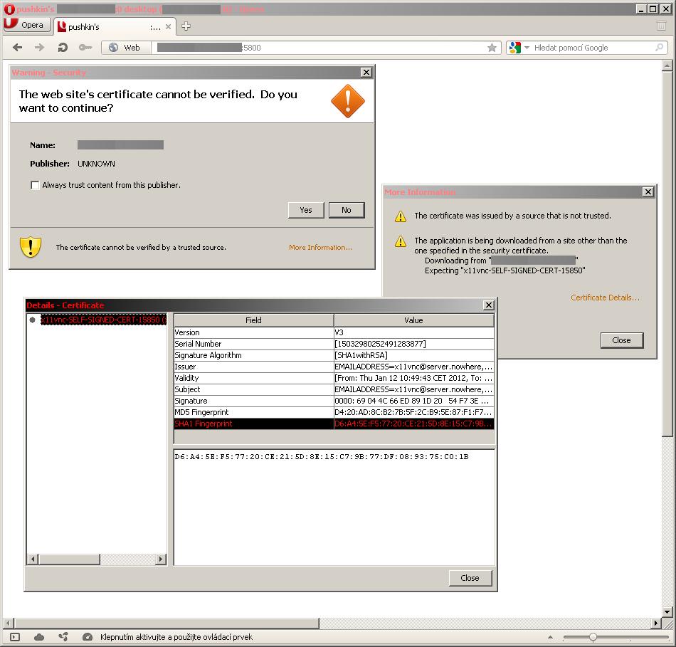 Připojení z webového prohlížeče