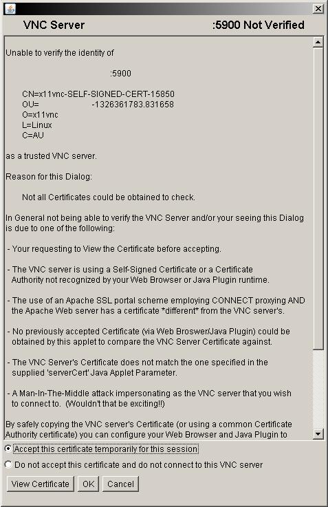 Připojení z webového prohlížeče, certifikát