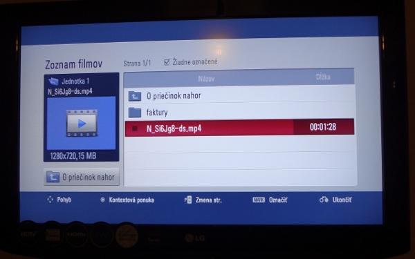 USB menu na nepodporovanom prijímači