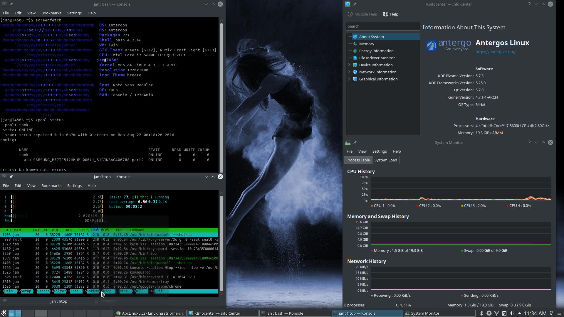 Plasma 5 7 - Arch (Antergos) na ZFS - desktop